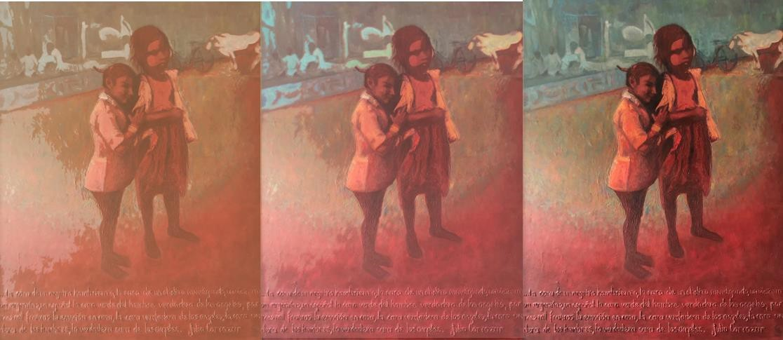 A series of three different iterations of the same painting, these in multiple colors.
