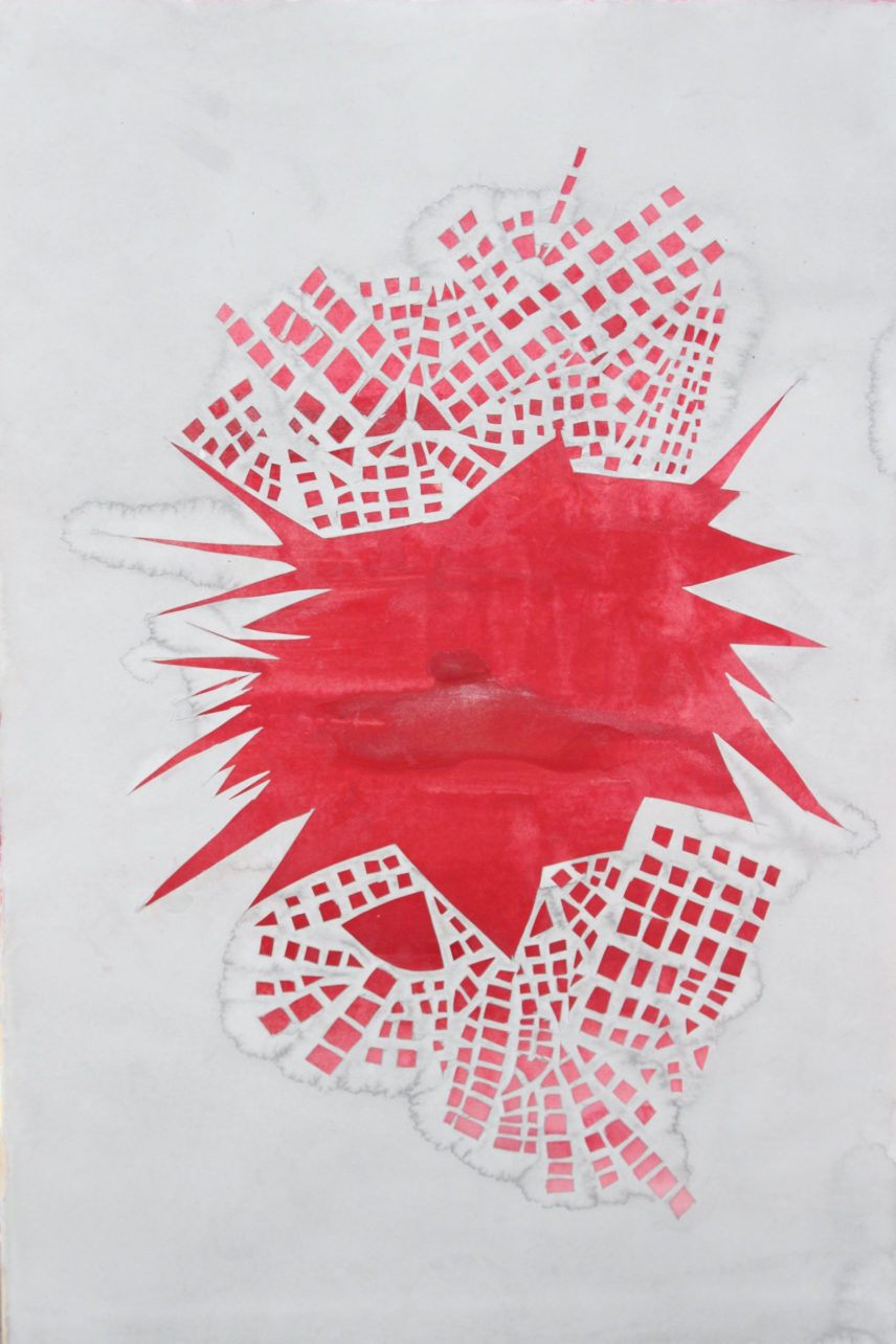 Artwork in red and white.