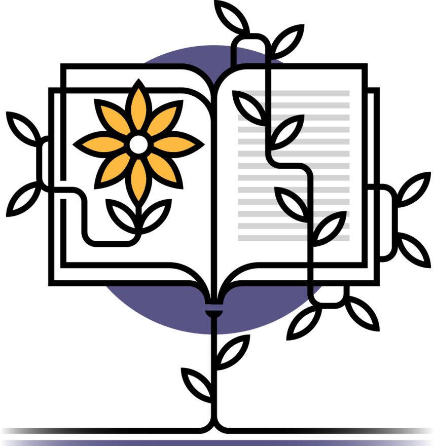 Simplified illustration of a book with vines growing around it.