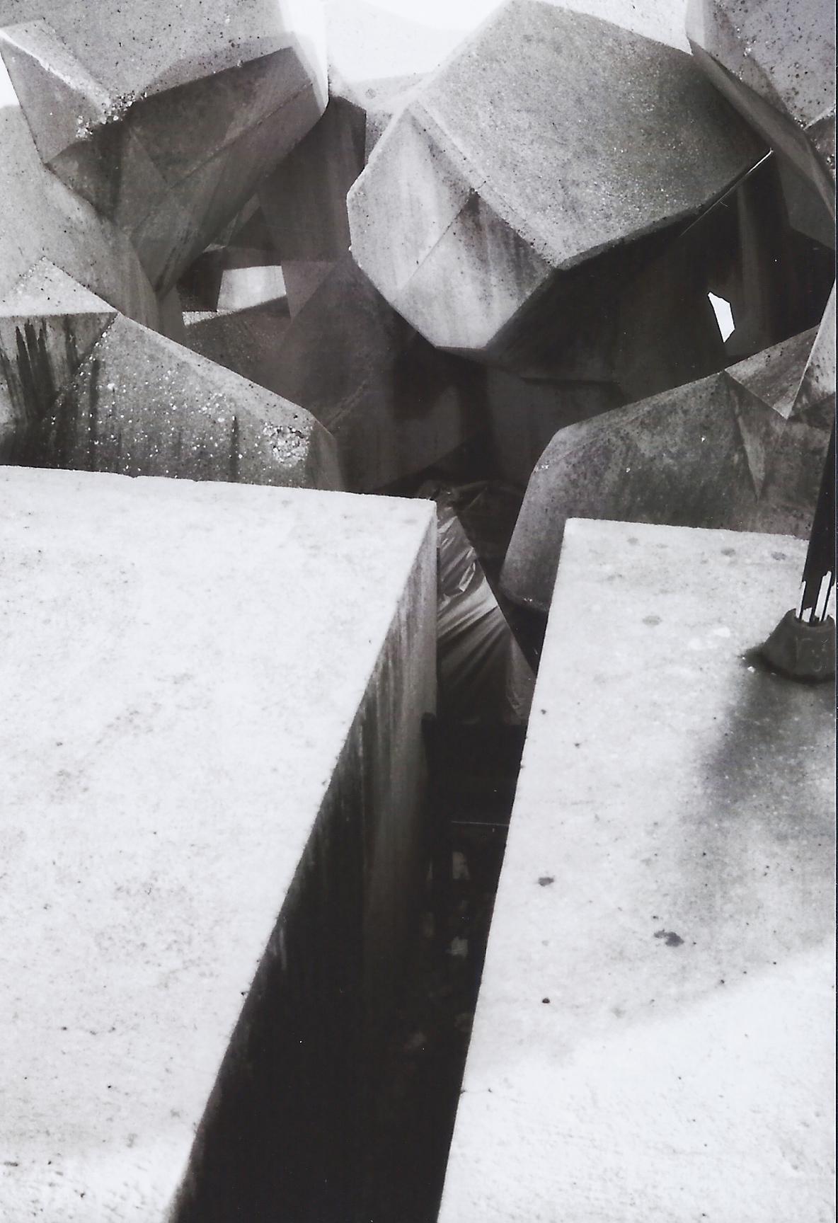 Photograph of concrete structures.