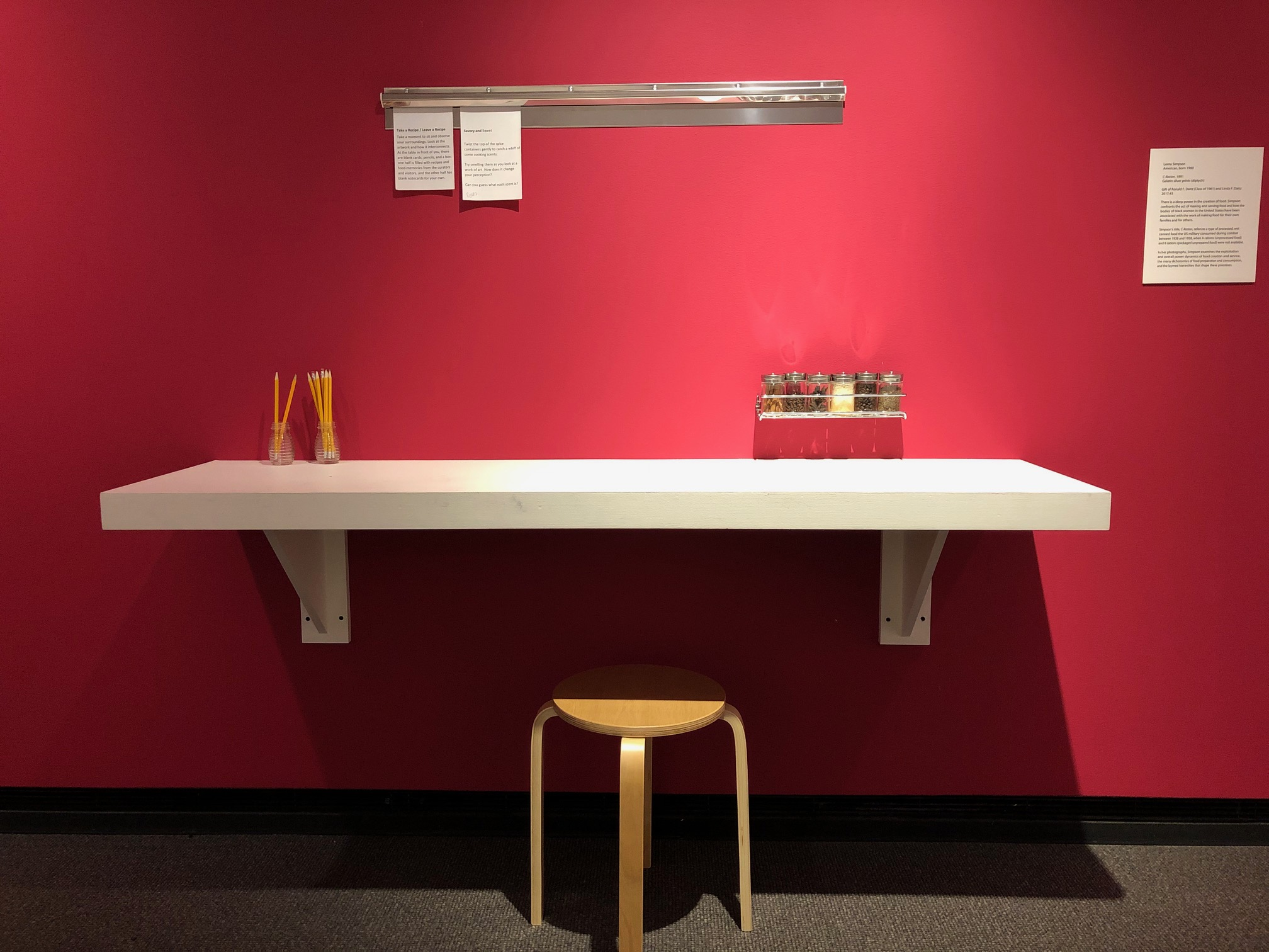 Photograph of a counter and stool