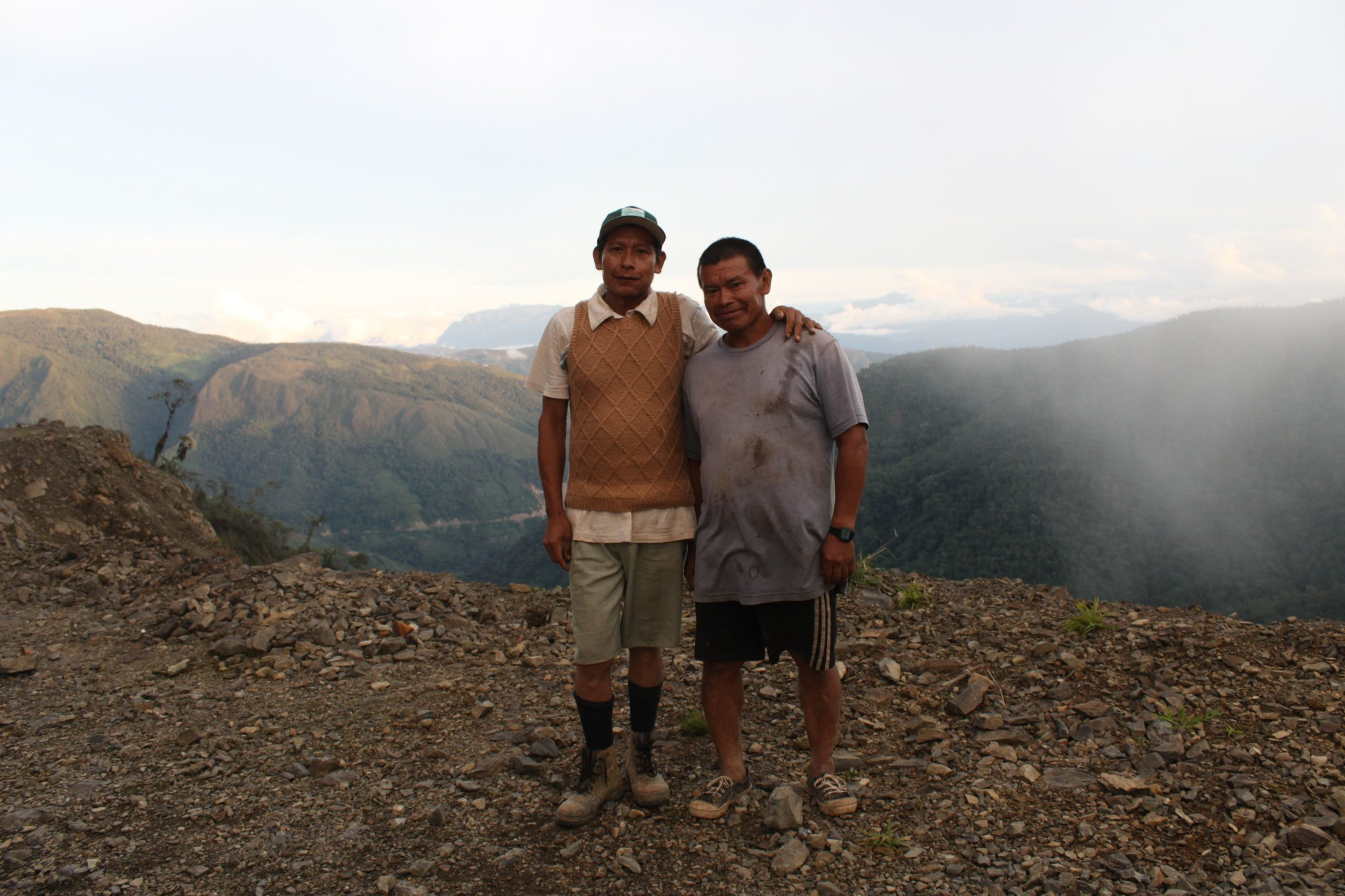 Photograph of two people outdoors