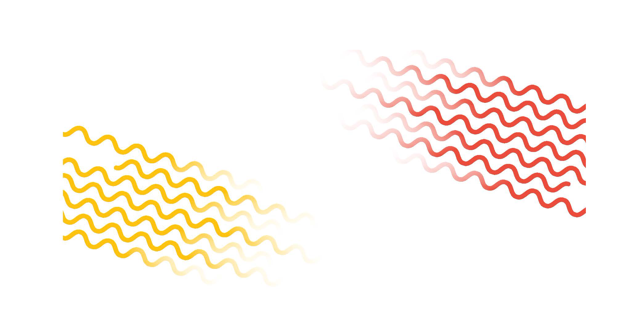 Illustration of wavy red and yellow lines