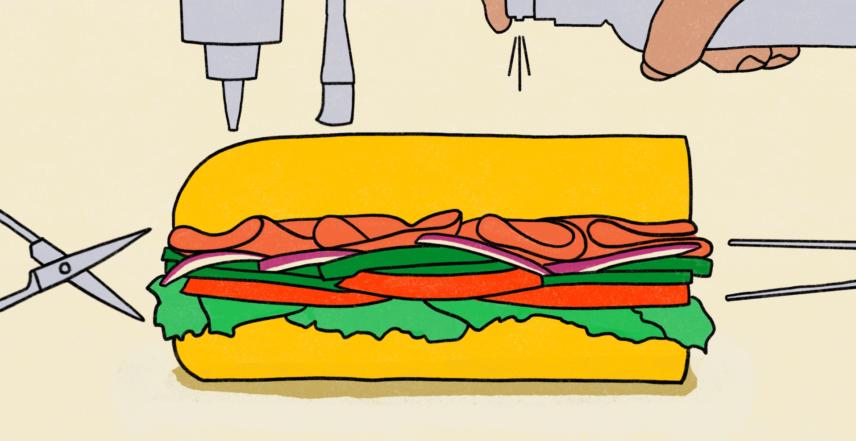 Drawing of a sub sandwich.
