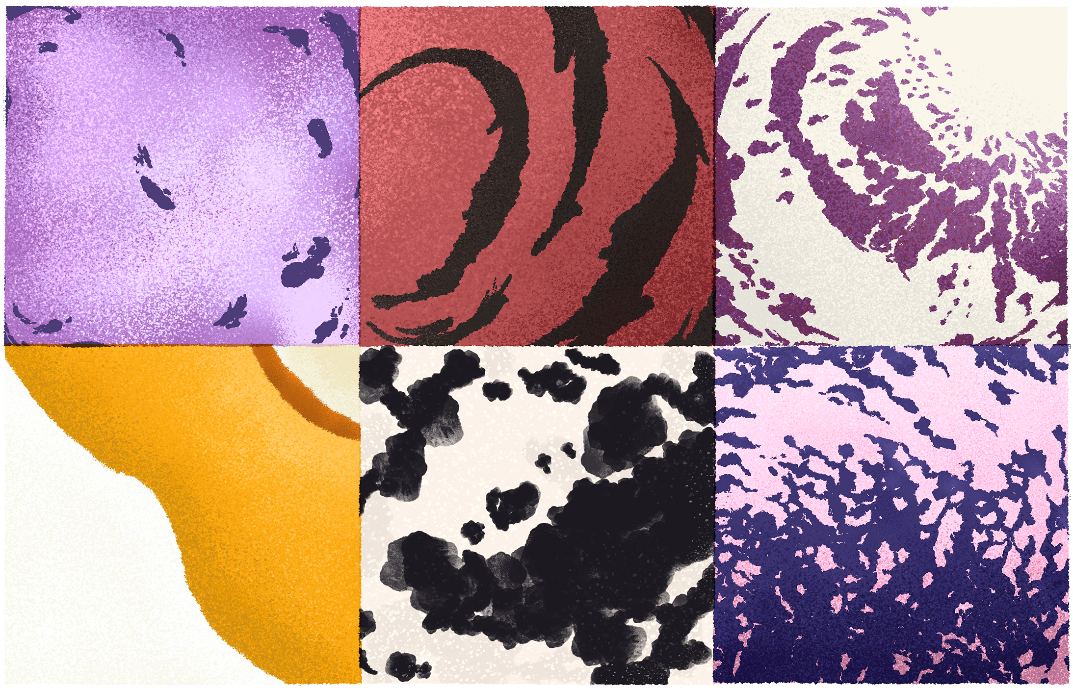 Two rows of three images that consist of different swirls and splotches.