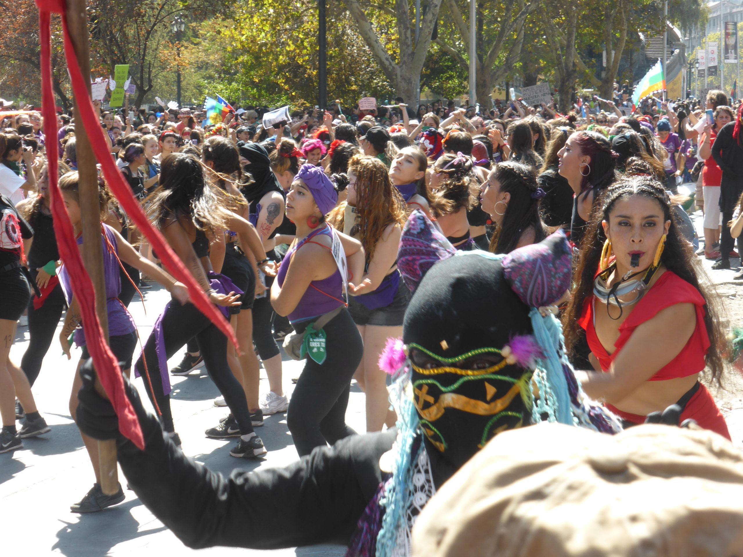 Scene from women's march in Santiago