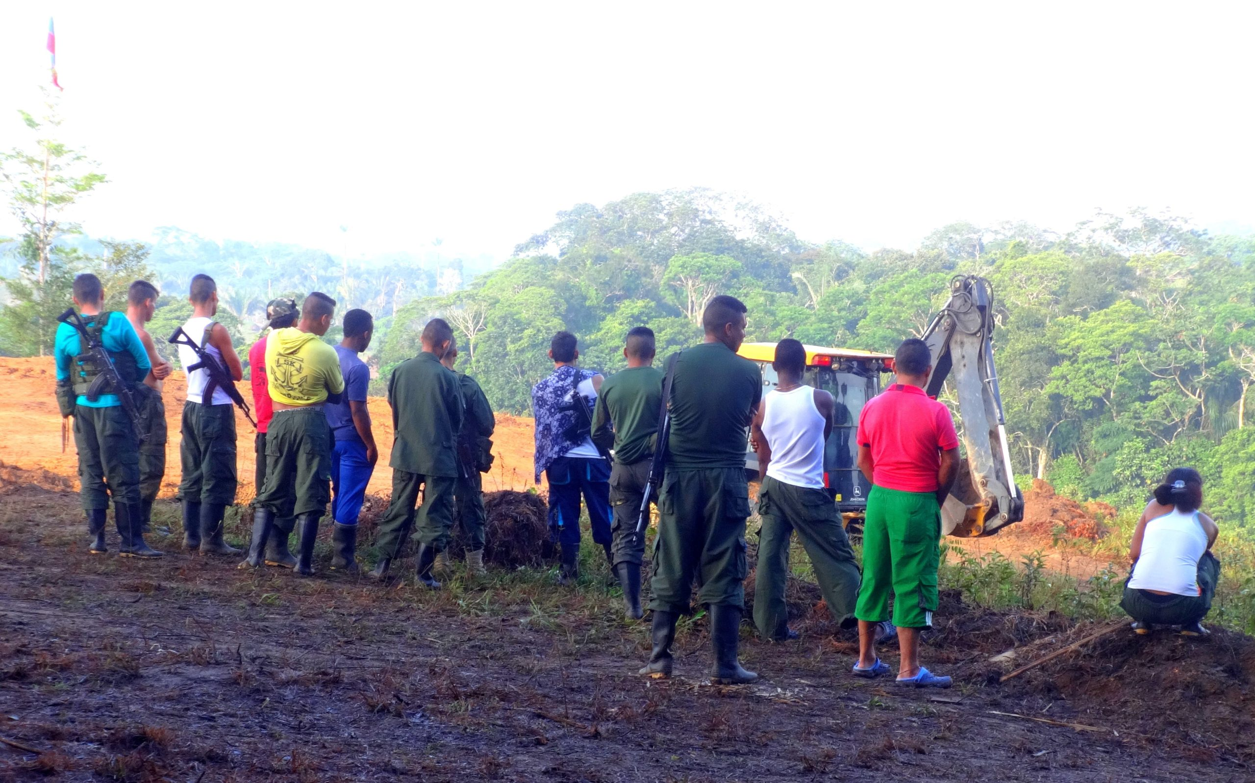 Photograph of FARC ex-combatants in a disarmament camp in Colinas, Guaviare, in the south of Colombia.