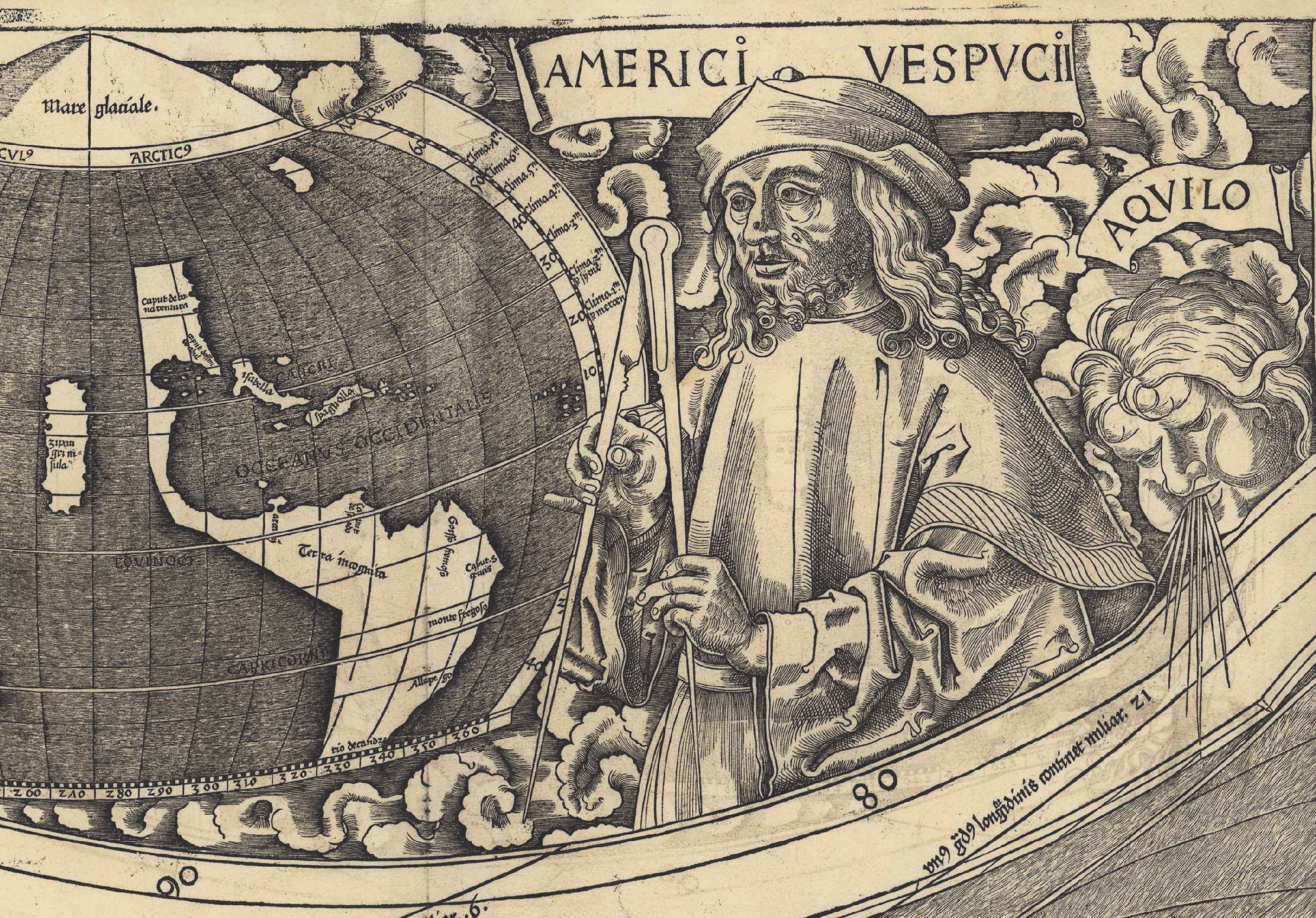 Detail from a drawn map, including a portion of the globe and a person.