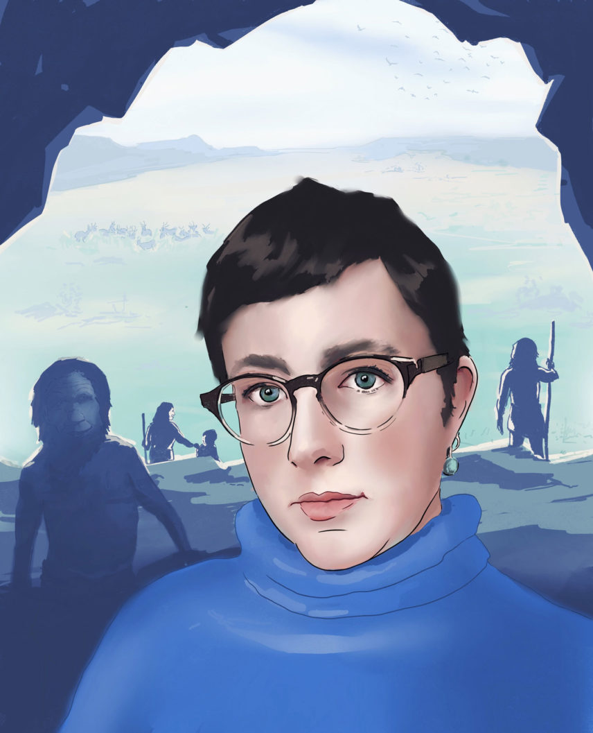 Painting of a woman against a background of a cave opening