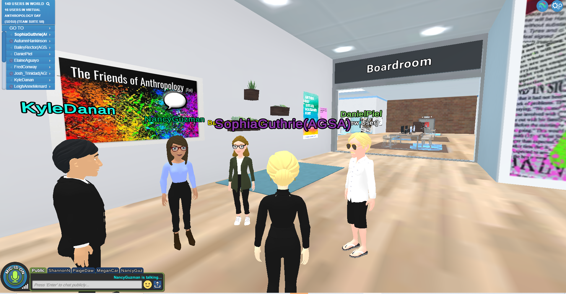Screenshot of a virtual space including various human-shaped avatars