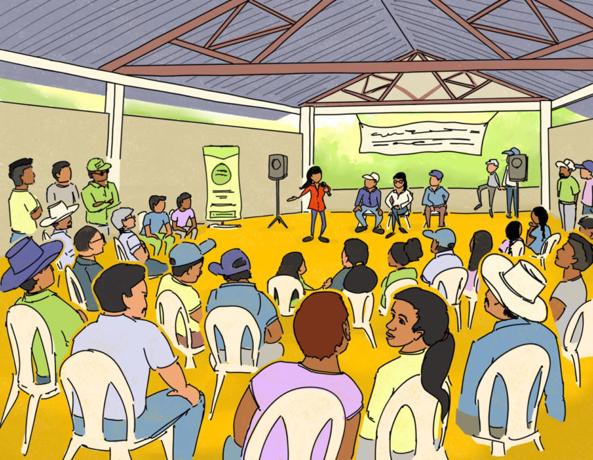 Illustration of a gathering of people
