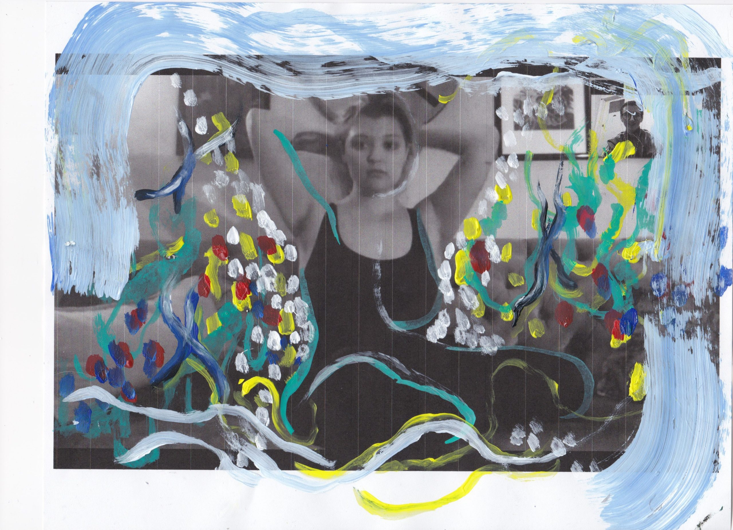 Photograph of a woman with paint layered atop it.