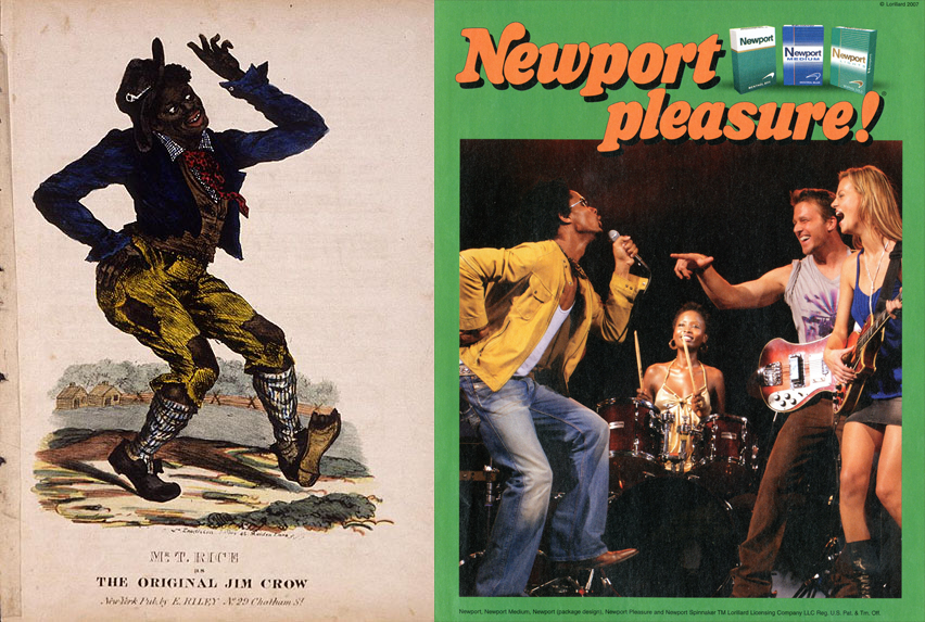 Two images side by side, one an illustration of a man in blackface and the other a cigarette advertisement