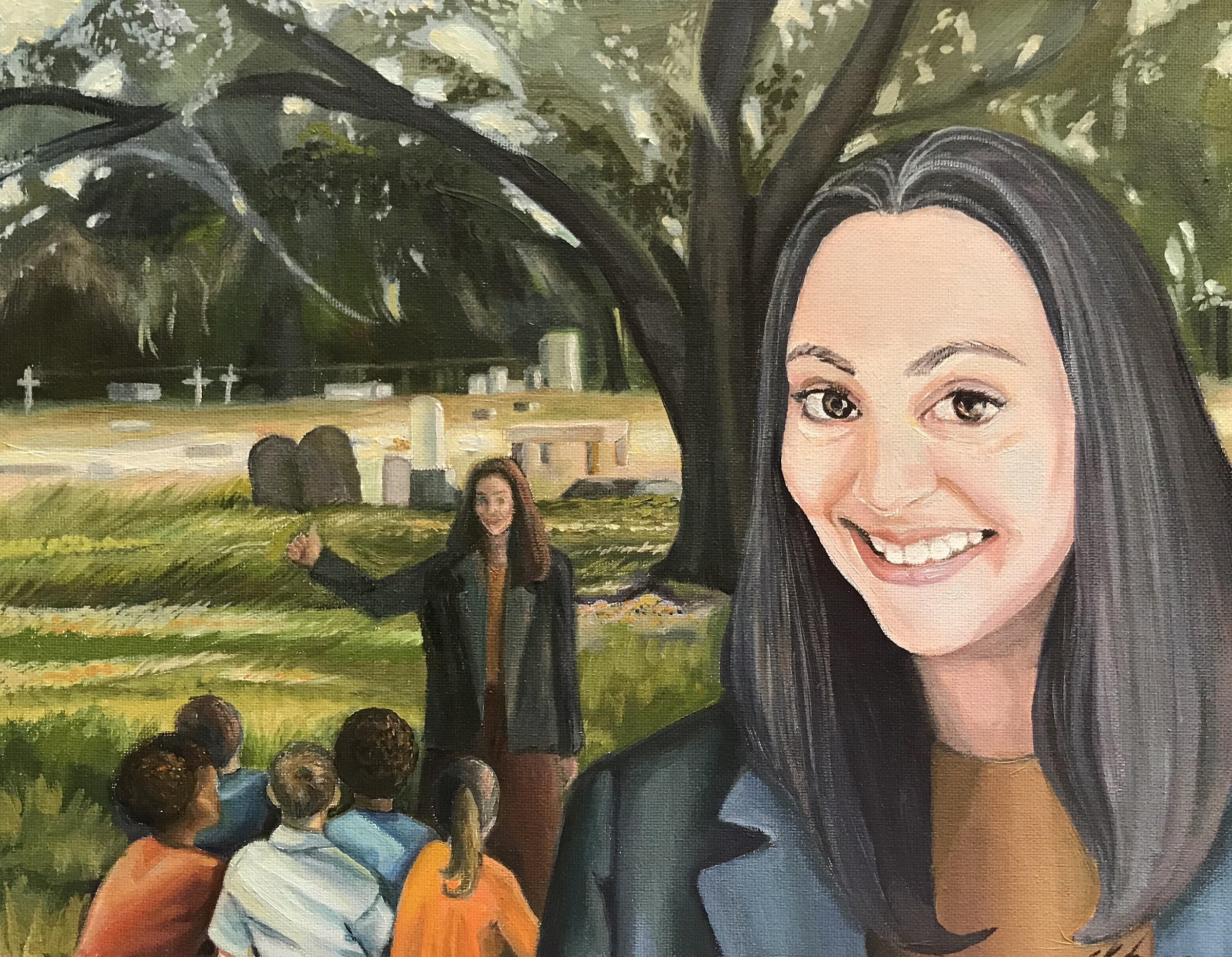 Illustration of a woman from the shoulders up and a background that includes another group of people under a tree