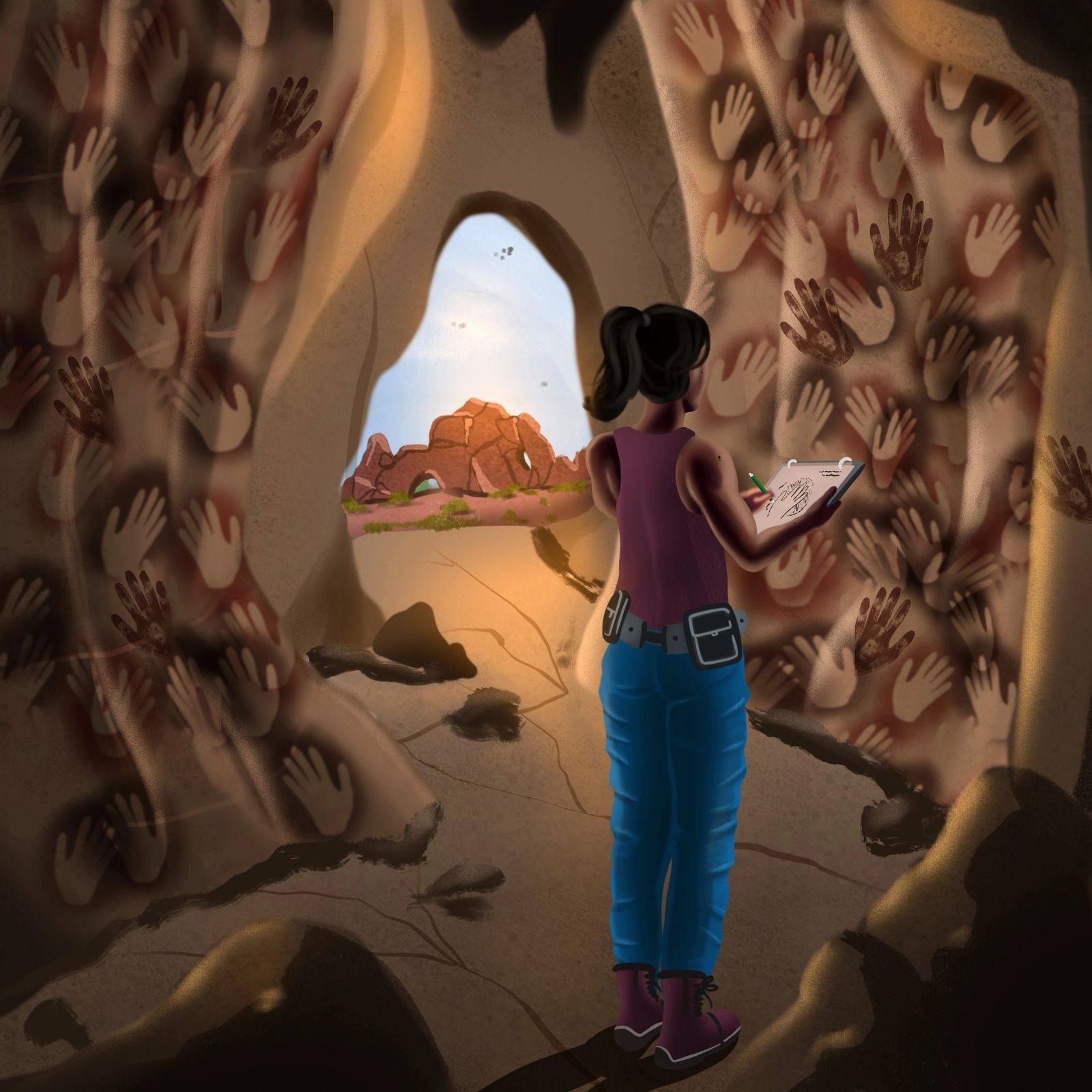 An illustration of a person sketching hand stencils in a cave