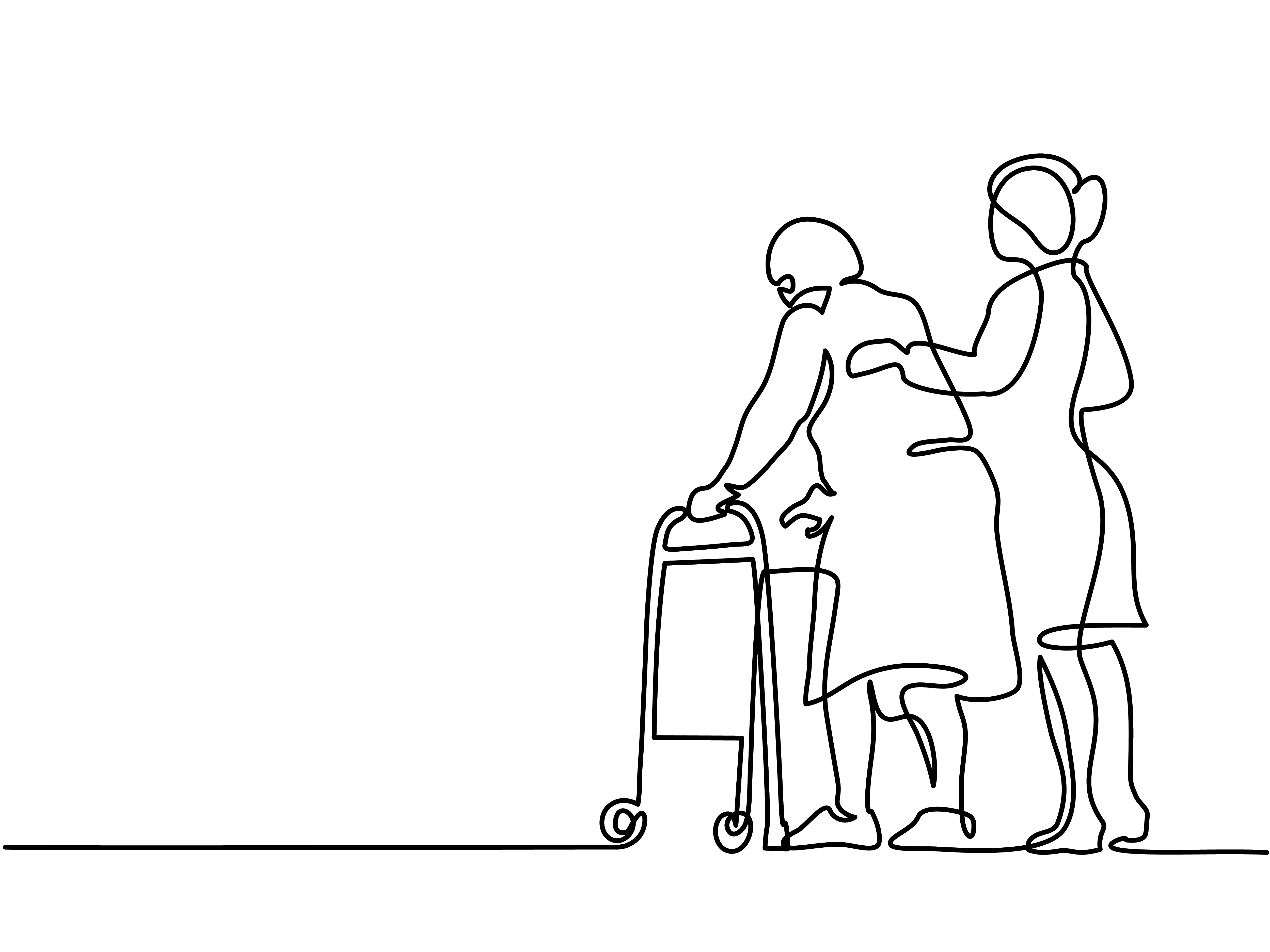 Line drawing of two people that is composed of one single line