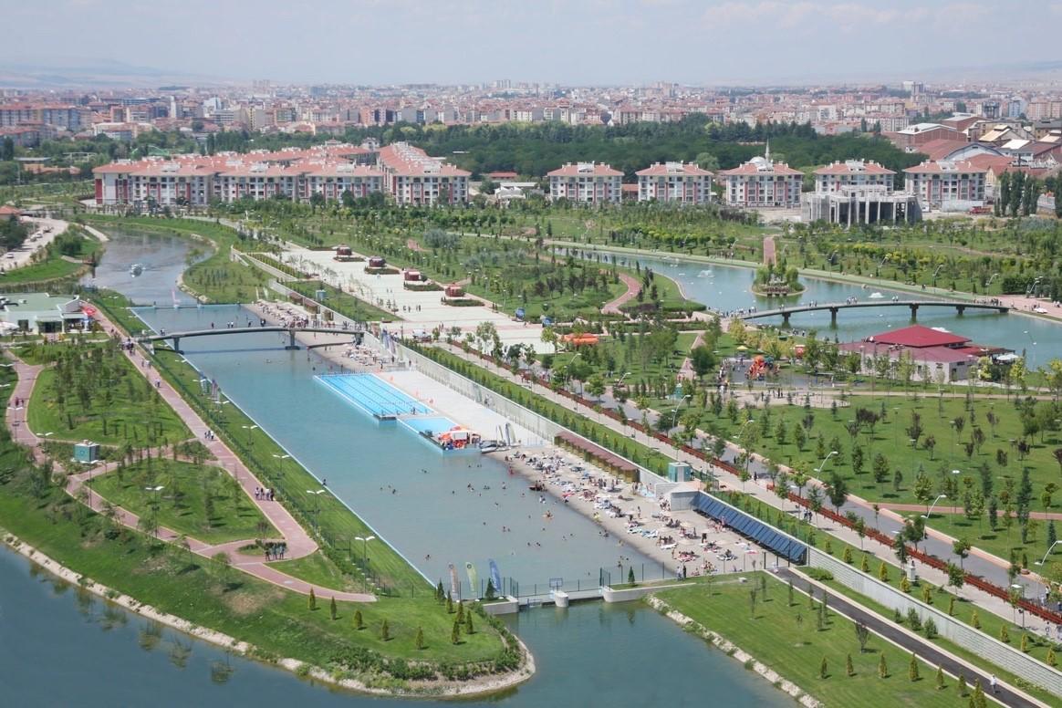 Photograph of a city riverfront