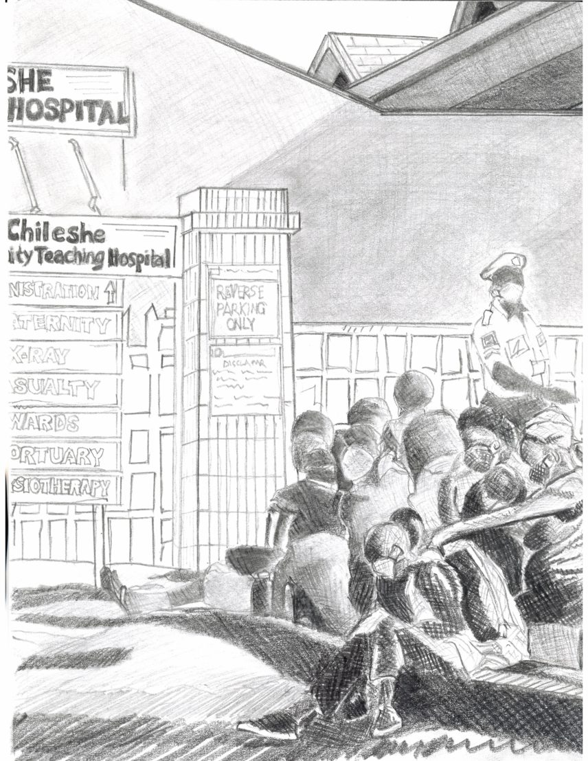Black and white illustration of people sitting together outside of a hospital