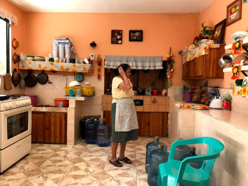 Photograph of a woman in a kitchen