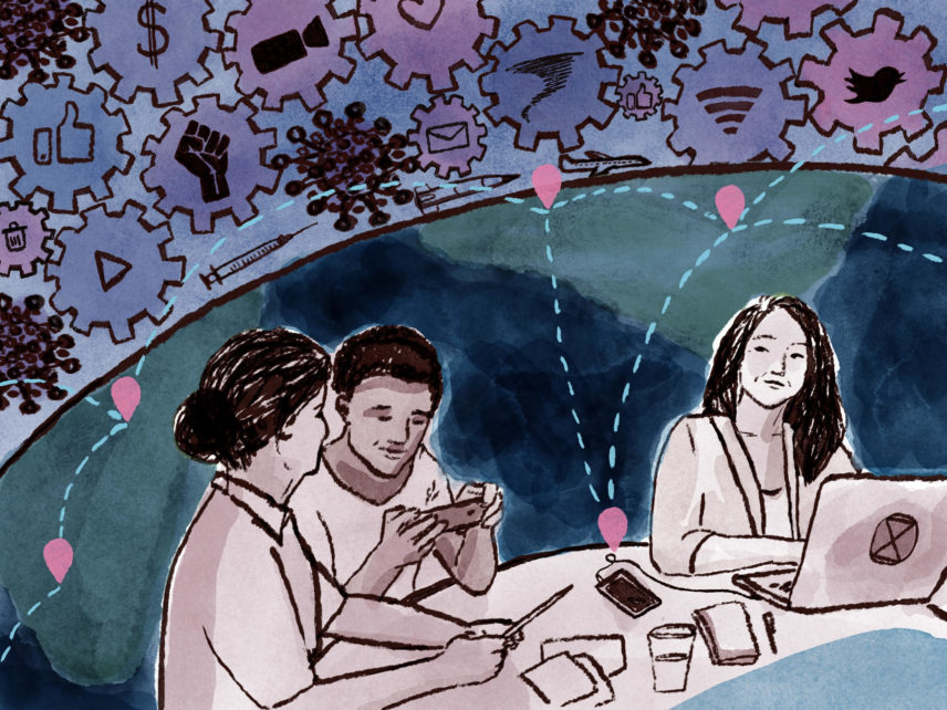 Illustration of people sitting at a table working together with the world behind