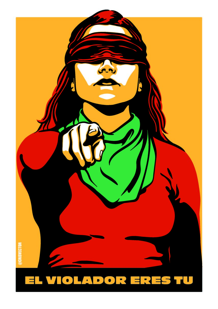 Illustration of a woman whose eyes are covered by a bandana and she is pointing at the viewer
