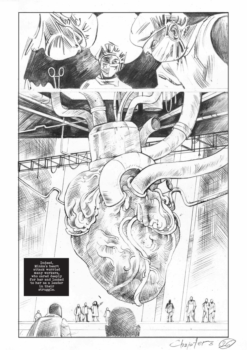 An illustration of a human heart connected to factory machinery, above which doctors perform surgery.