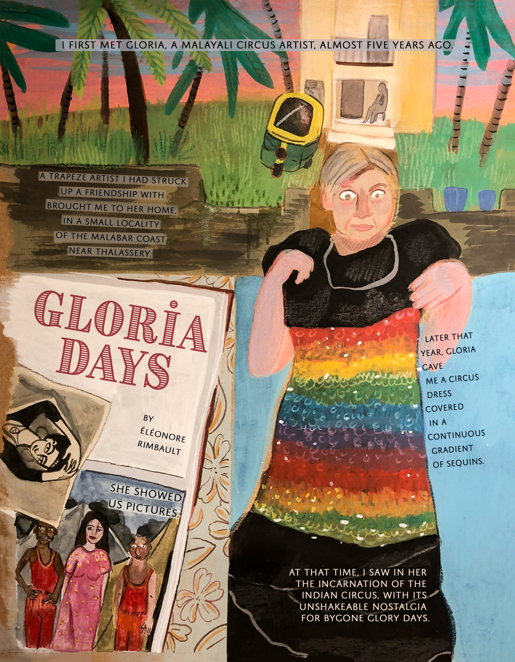 Comic panel featuring a retired female circus artist holding a circus dress. Her photo album, and the outside of her house are also featured in the image.