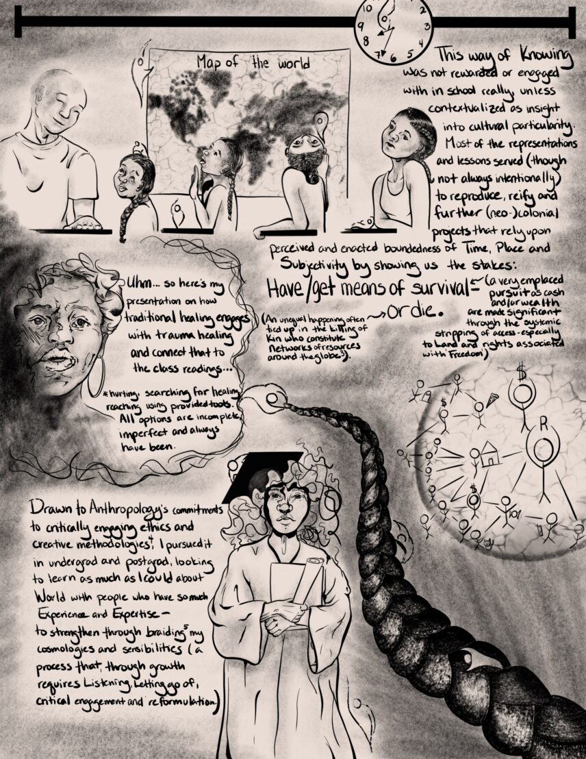 Black and white llustrations of the author-artist depicting her educational journey