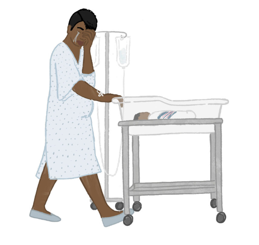 Illustration of a Black woman pushing her newborn baby's mobile crib