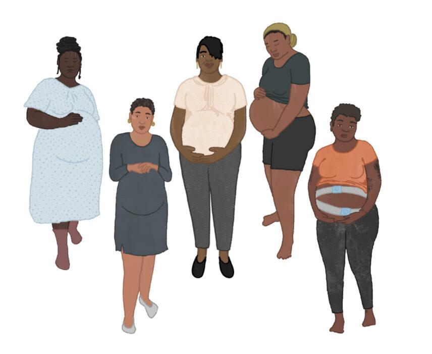 Illustration of five pregnant Black women