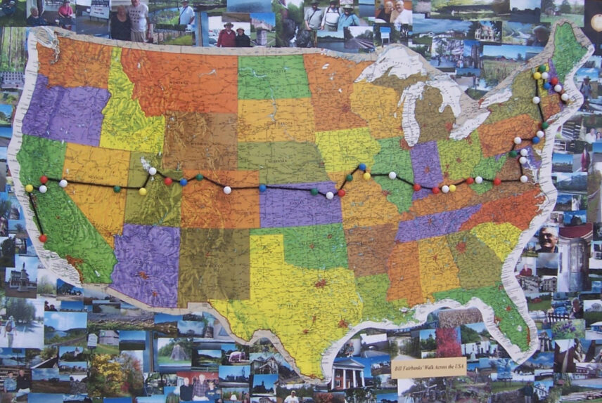 Map of USA with a route marked across it set atop a collage of pictures