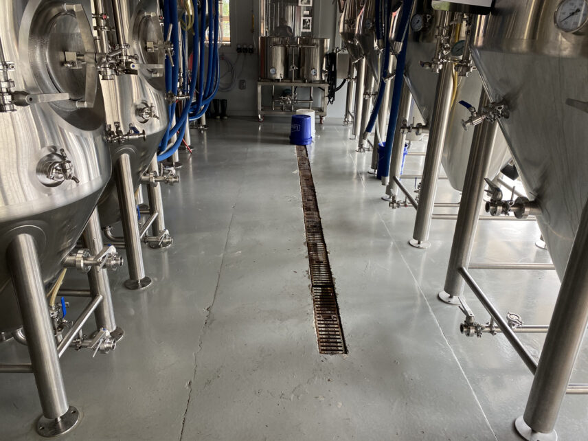 Photograph of a brewery floor