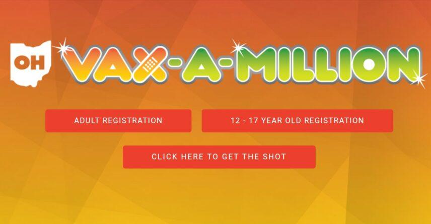 Screenshot of the Ohio Vax-a-Million website.