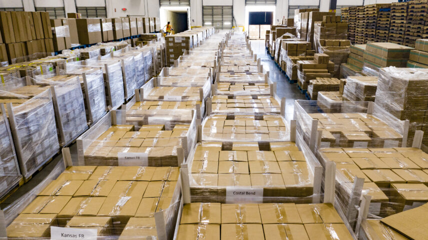 Photograph of a warehouse full of boxes