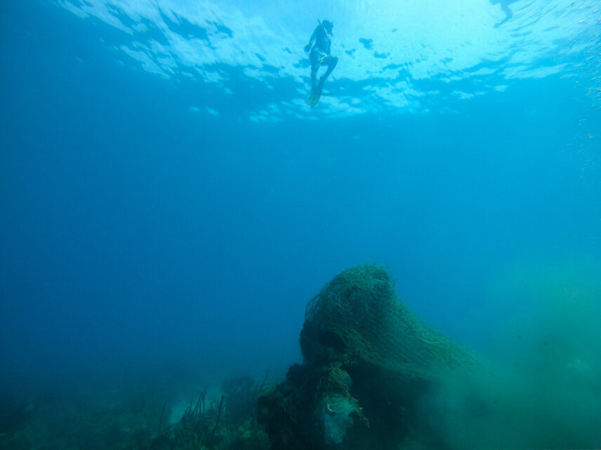 Picture of a diver surfacing after locating a ghost net.