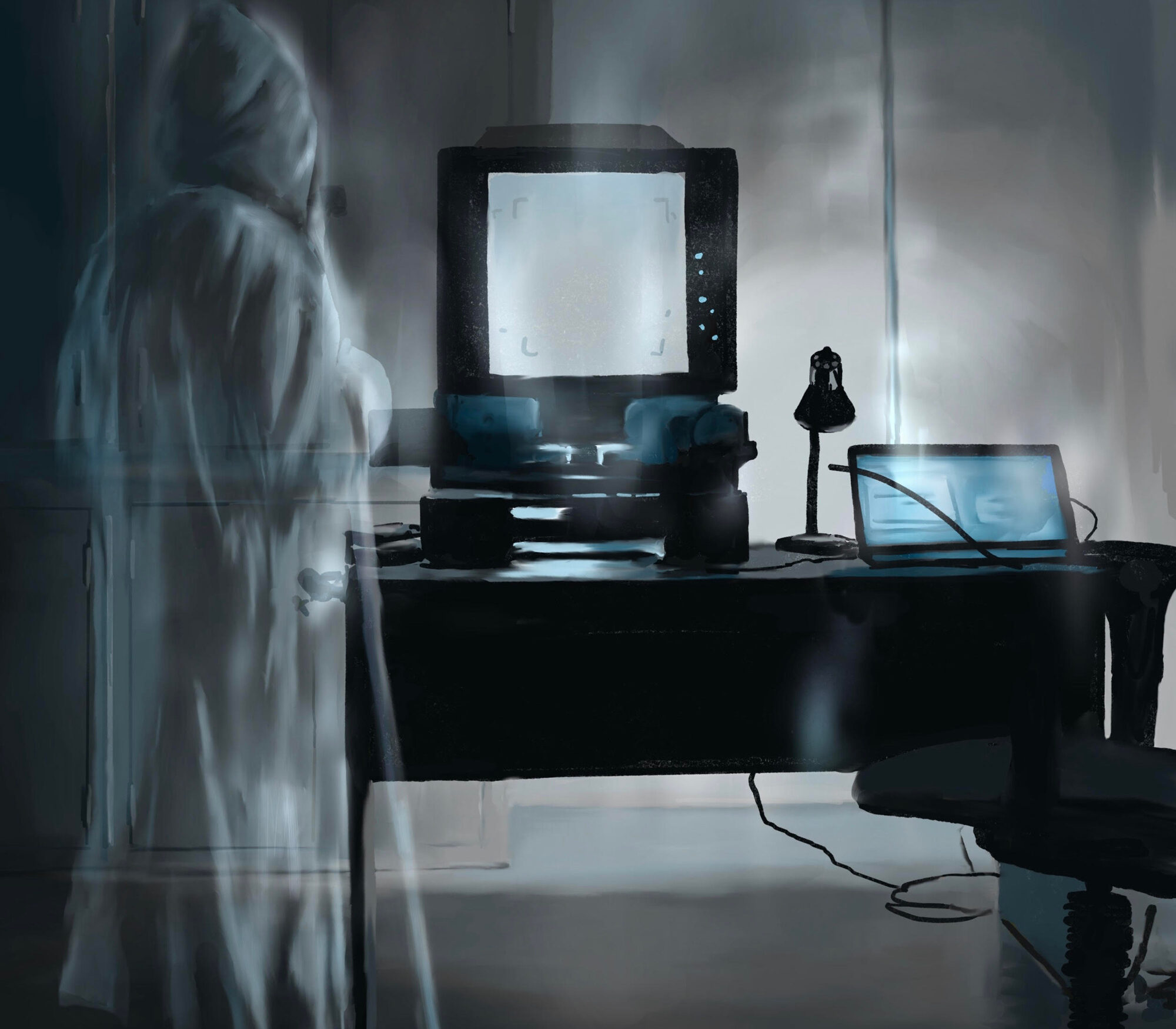 Painting of a ghost in an office